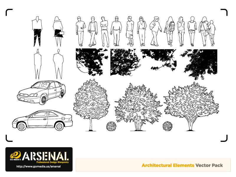 free vector Cars, trees, vector